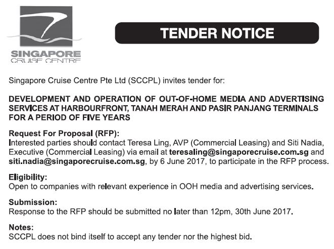 tender 2017 | Singapore Cruise Centre